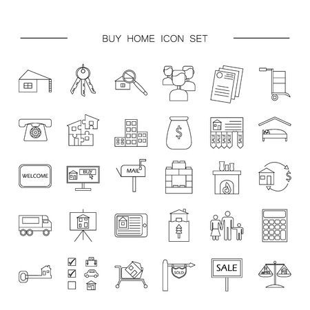 Buy home vector icon set. Renting house vector icon set.
