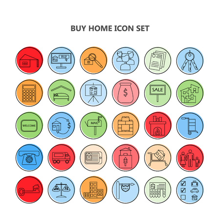 apartment for rent: Buy home vector icon set. Renting house vector icon set.
