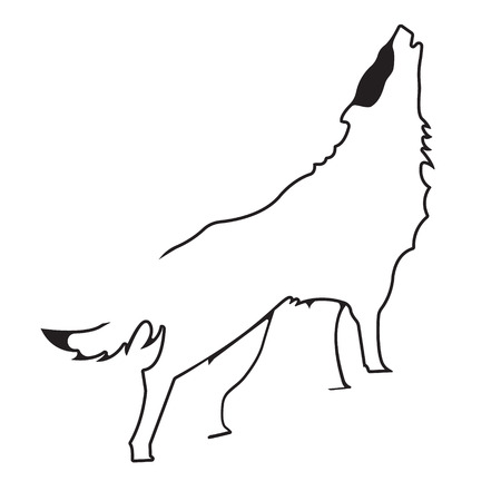 Wolf logo. Silhouette vector symbol of wolf for design companys logo, tattoo, visit card, etc. Monochrome sign of animal. Illustration