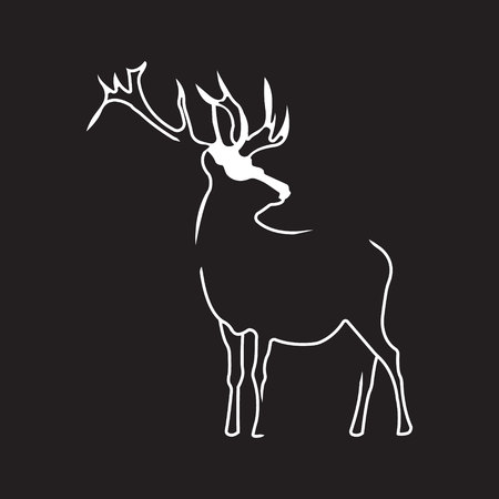 Deer logo. Silhouette vector symbol of deer for design companys logo, tattoo, visit card, etc. Monochrome sign of animal.
