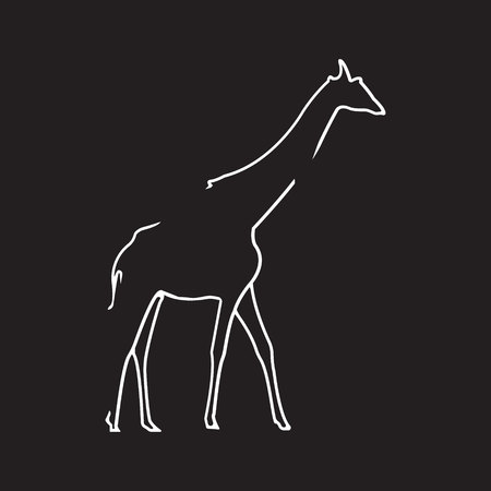 Giraffe logo. Silhouette vector symbol of giraffe for design companys logo, tattoo, visit card, etc. Monochrome sign of animal.