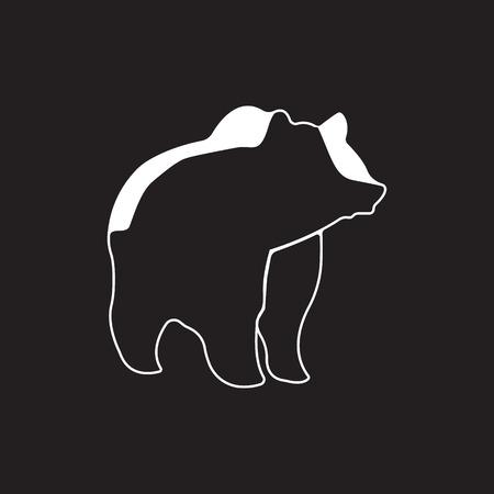 studio zoo: Bear logo. Silhouette vector symbol of bear for design companys logo, tattoo, visit card, etc. Monochrome sign of animal.
