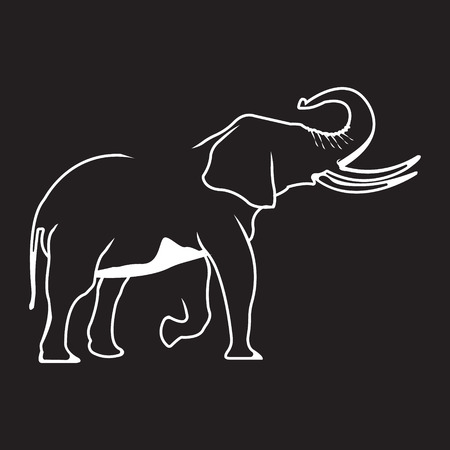 Elephant logo. Silhouette vector symbol of elephant for design companys logo, tattoo, visit card, etc. Monochrome sign of animal. Illustration