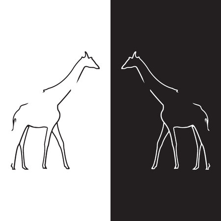 studio zoo: Giraffe logo. Silhouette vector symbol of giraffe for design companys logo, tattoo, visit card, etc. Monochrome sign of animal.