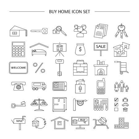 sell car: Buy home vector icon set. Renting house vector icon set.