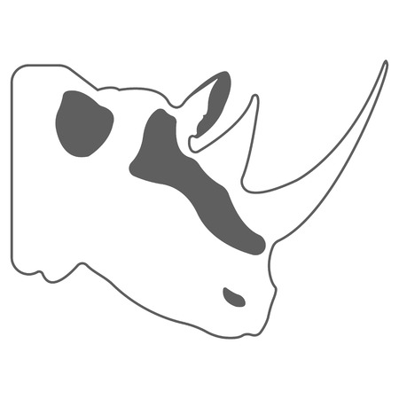 Rhino logo. Silhouette vector symbol of rhino for design companys logo, tattoo, visit card, etc. Monochrome sign of animal.