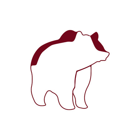 Bear logo. Silhouette vector symbol of bear for design companys logo, tattoo, visit card, etc. Monochrome sign of animal.