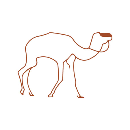 Camel logo. Silhouette vector symbol of camel for design companys logo, tattoo, visit card, etc. Monochrome sign of animal. Illustration
