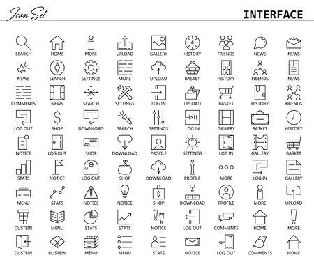81 Dünnline Icons für Web und Mobile. Abgespeckte Version. Sammlung von qualitativ hochwertigen Piktogrammen der Benutzeroberfläche. Zeichen, Symbole und Schaltfläche für Website, mobile App, etc.