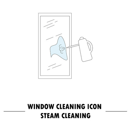 windshield wiper: Window cleaning icon. High quality outline pictogram of window cleaning. Vector color symbol for design website, visit card, mobile app, etc. Illustration