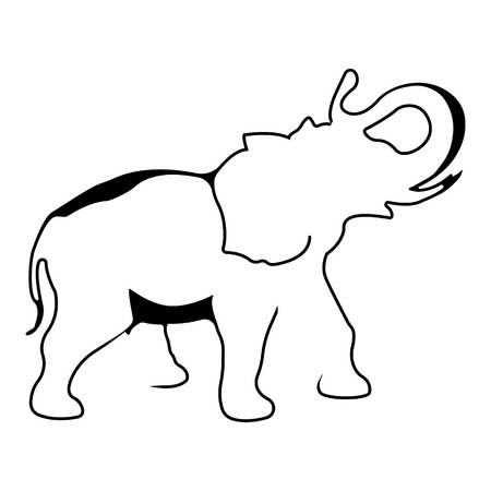 Elephant. Silhouette vector symbol of elephant for tattoo, card, etc. Monochrome sign of animal.