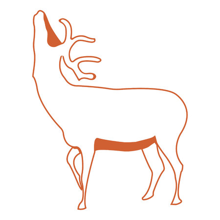 Deer. Silhouette vector symbol of deer for tattoo, visit card, etc. Monochrome sign of animal. Illustration