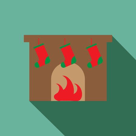 mantelpiece: Fireplace vector icon. Christmas fireplace vector icon. Button for websites, elements for booklets, leaflets, brochures, etc Illustration