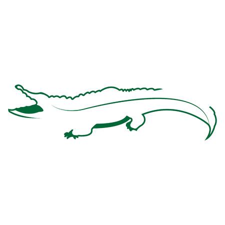 Crocodile logo. Silhouette vector symbol of crocodile for design company's logo, tattoo, visit card, etc. Monochrome sign of animal.
