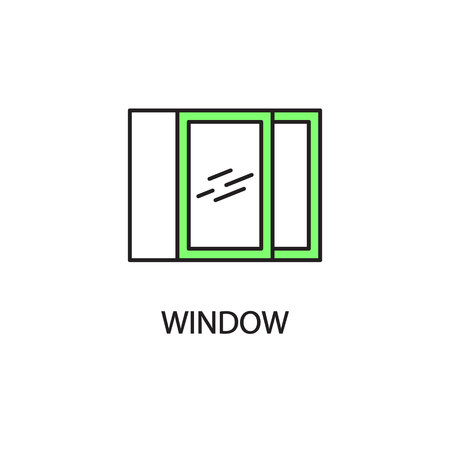white window: Window line icon. High quality pictogram of window for homes interior. Outline vector symbol for design website or mobile app. Thin line sign of mirror for logo, visit card, etc. Stock Photo