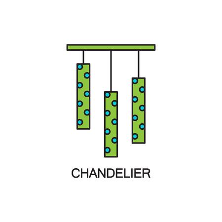 pendant lamp: Chandelier flat icon. High quality outline pictogram of element for bedrooms interior. Vector line illustration of chandelier for web design or mobile app. Button and symbol for design visit card, logo.
