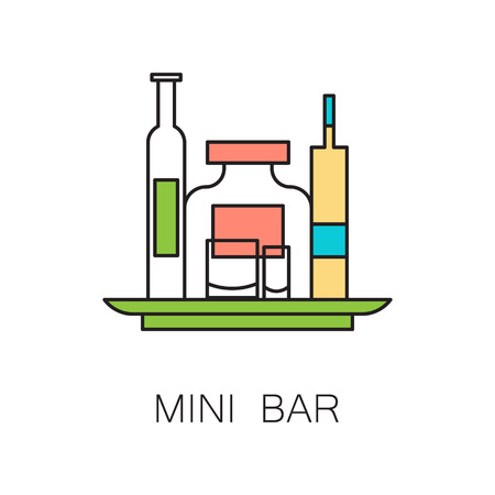 mini bar: Mini bar icon. Hhigh quality outline elements on the topic of Mini bar . Vector color symbols for design of website, mobile app, infographics, presentation, companys visit card, logo.