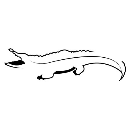 Crocodile logo. Silhouette vector symbol of crocodile for design companys logo, tattoo, visit card, etc. Monochrome sign of animal.