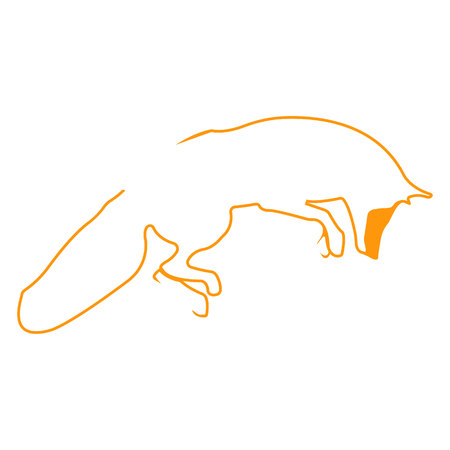Fox logo. Silhouette vector symbol of fox for design companys logo, tattoo, visit card, etc. Monochrome sign of animal.
