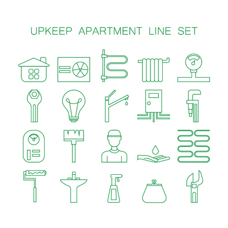 upkeep: Set of line icon of upkeep home. Collection high quality outline signs of elements for upkeep apartment. 20 thin line pictograms for design website or mobile app. Symbols for design visit card, logo, etc.