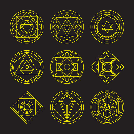 transmutation: Alchemical round set. Gold symbols at black background. Vector illustration of geometrical shape uniting in all composition. Color vector image. White logos for website,social media, company and etc.