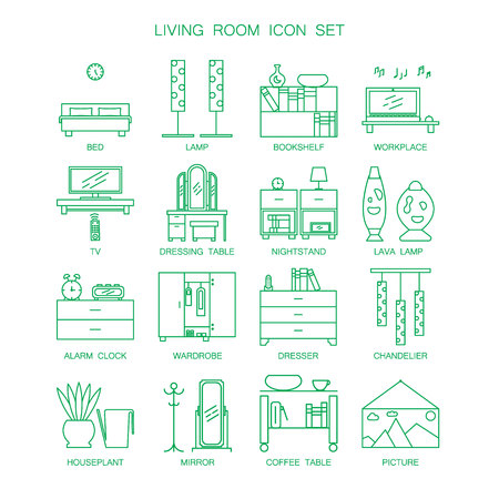 lava lamp: Bedroom icon set. Collection of high quality outline pictograms of element for bedrooms interior. 16 vector line elements for web design or mobile app. Button and symbols for design visit card, logo.