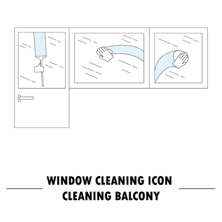 Window cleaning icon. High quality outline pictogram of window cleaning. Vector color symbol for design website, visit card, mobile app, logo, etc.