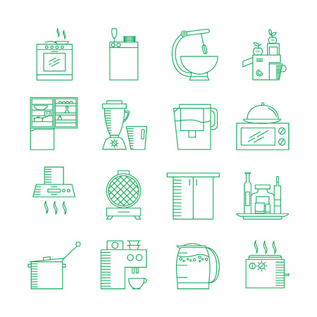 kitchen cabinet: Kitchen appliances icon set. Collection of high quality outline elements on the topic of Kitchen appliances . 16 symbols for design of website, infographics, presentation, companys visit card, logo.