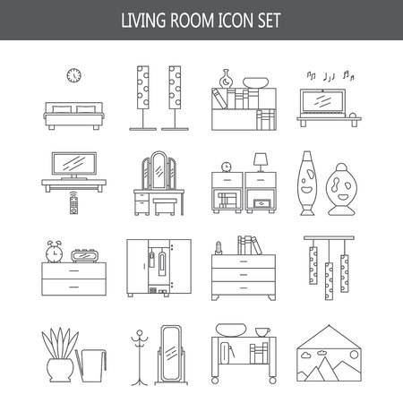 lava lamp: Bedroom icon set. Collection of high quality outline pictograms of elements for bedrooms interior. 16 vector line elements for web design or mobile app. Buttons and symbols for design visit card, logo.