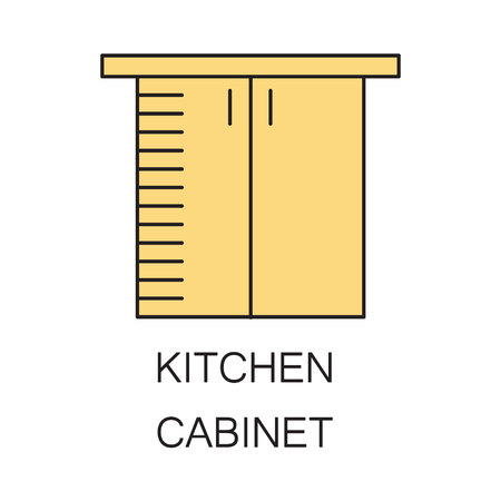 kitchen cabinet: Kitchen cabinet icon. Hhigh quality outline element on the topic of Kitchen cabinet . Vector color symbol for design of website, mobile app, infographics, presentation, companys visit card, logo.