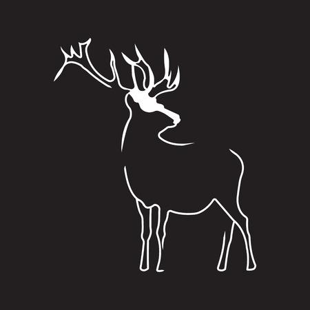 Deer logo. Silhouette vector symbol of deer for design companys logo, tattoo, visit card, etc. Monochrome sign of animal.