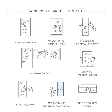 wet floor: Window cleaning icon. Collection of high quality outline pictograms of window cleaning. Vector color symbols for design website, visit card, mobile app, logo, etc.