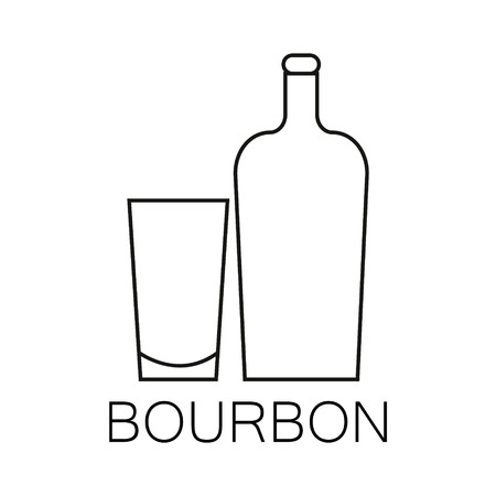 Alcoholic beverages line icon. The linear image of a bottle and glass of beverage Çizim