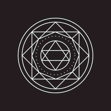 uniting: Alchemical round. White symbol at black background. Vector illustration of geometrical shape uniting in all composition. Color vector image. White logo for website,social media, company and etc.