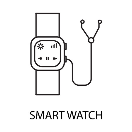 wireles: Smart watch line icon. Vector symbol on the topic of personal devices. Black minimalist element for design of website, companys visit card, logo an etc. Smart watch vector icon eps 10.