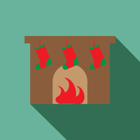 Fireplace vector icon. Christmas fireplace vector icon. Button for websites, elements for booklets, leaflets, brochures, logos, etc