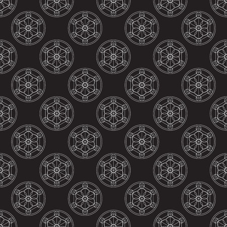 uniting: Alchemical round seamless pattern. Vector illustration of geometrical shape uniting in all composition. Color vector image. Example logo for website,social media, company and etc.