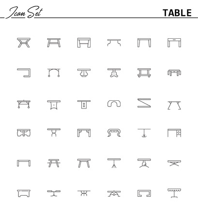 Table line icon set. Collection of high quality pictograms of table for homes interior. Outline vector symbols for design website or mobile app. Thin line signs of mirror for logo, visit card, etc.