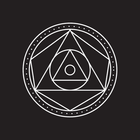 transmutation: Alchemical round. White symbol at black background. Vector illustration of geometrical shape uniting in all composition. Color vector image. White logo for website,social media, company and etc.