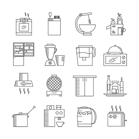 mini bar: Kitchen appliances icon set. Collection of high quality outline elements on the topic of Kitchen appliances . 16 symbols for design of website, infographics, presentation, companys visit card, logo.