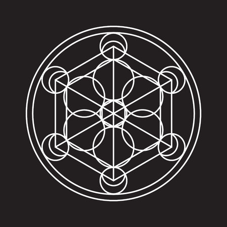 Alchemical round. White symbol at black background. Vector illustration of geometrical shape uniting in all composition. Color vector image. White logo for website,social media, company and etc.