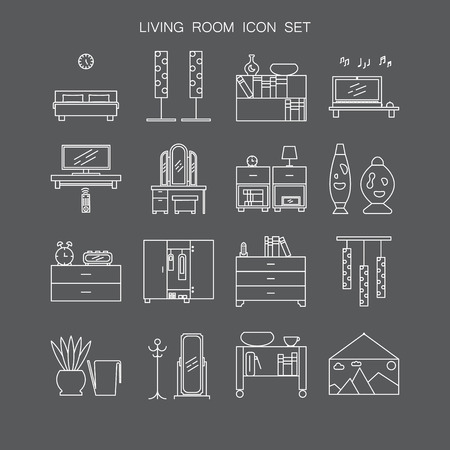 Bedroom icon set. Collection of high quality outline pictograms of elements for bedrooms interior. 16 vector line elements for web design or mobile app. Buttons and symbols for design visit card, logo.