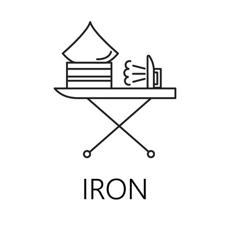 flatiron: Iron line icon. Vector symbol on the topic of home electronic devices. Black minimalist element for design of website, companys visit card, logo an etc. Iron vector icon eps 10. Stock Photo