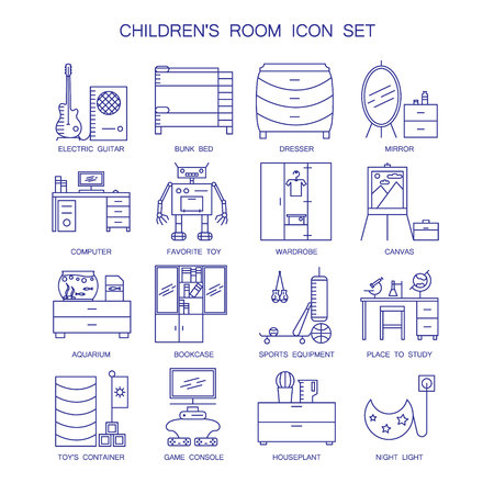 bunk bed: Childrens room icon set. Collection of high quality outline interior and technological pictograms for composition of childrens room. 16 vector line elements for design website, mobile app or logo.