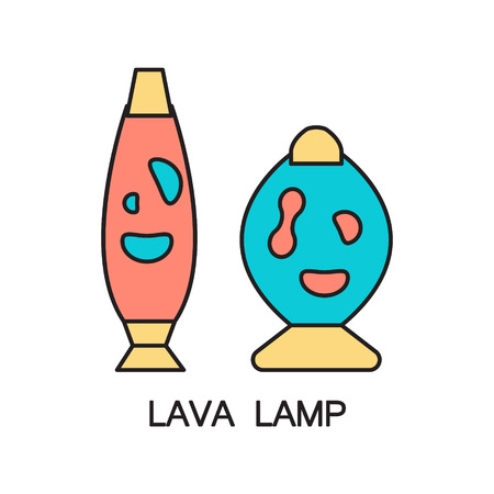 lava lamp: Lava lamp flat icon. High quality outline pictogram of element for bedrooms interior. Vector line illustration of lava lamp for web design or mobile app. Button and symbol for design visit card, logo.