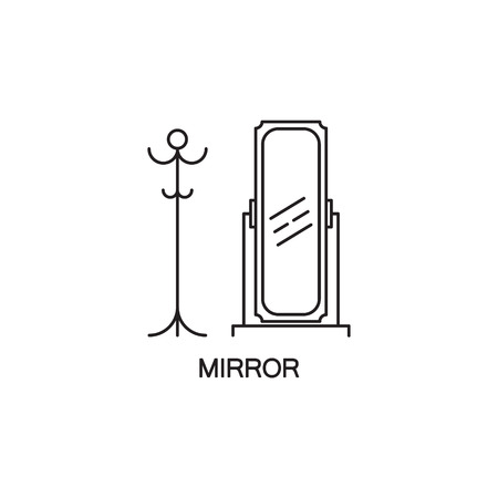 vanity: Mirror flat icon. High quality outline pictogram of element for bedrooms interior. Vector line illustration of mirror for web design or mobile app. Button and symbol for design visit card, logo.