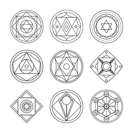 transmutation: Alchemical round set. Black symbols at white background. Vector illustration of geometrical shape uniting in all composition. Color vector image. White logos for website,social media, company and etc. Stock Photo