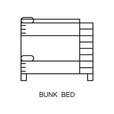 bunk bed: Bunk bed line icon. Single high quality outline interior or technological pictogram for composition of childrens room. Vector line element for design website, mobile app, logo, etc. Stock Photo