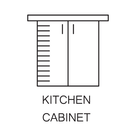 kitchen cabinet: Kitchen cabinet icon. High quality outline element on the topic of Kitchen cabinet . Vector black symbol for design of website, mobile app, infographics, presentation, companys visit card, logo. Stock Photo