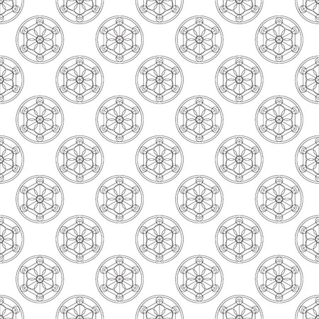 transmutation: Alchemical round seamless pattern. Vector illustration of geometrical shape uniting in all composition. Color vector image. Example logo for website,social media, company and etc.